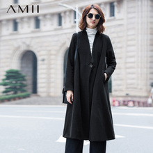 Amii Casual Women Woolen Coat 2018 Winter Single Button Draped Long Female Wool Blends(China)