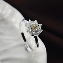Ring for women Lotus flower openings resizable size wedding bands silver plated nickel free trendy fashion jewelry