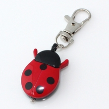Brand New Fashion Crystal beetles Ladybug Pocket Pendant Key Ring Chain Quartz Dress Watch + Gift Bag GL02K(China)