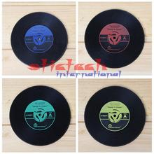 by dhl or ems 500pcs Cup Mats Vintage Vinyl Coasters CD Record Table Bar Drinks