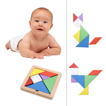 Large Size Wooden Tangram Board Educational Kids Child Jigsaw Puzzle Colorful Geometry Puzzle Jigsaw Developmental Toy(China)