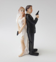 Humor Special Agent Marriage Polyresin Figurine Wedding Cake Toppers Resin Decor Doll Lover Birthday Gift