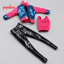 1Set Fashion Outfit Casual Daily Travel Dress Up Long Sleeve Shirt Pants Trousers Clothes For Barbie Doll Accessories Toy(China)