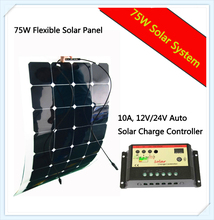 flexible solar panel 75w Connection Box in front or on back with wire 1M for 12V battery charge system; RV; Boat; Camper