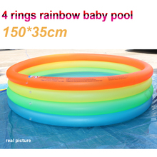 inflatable baby kid swimming pool 150*35cm big size 4 ring summer play colorful pool baby child water pool color box