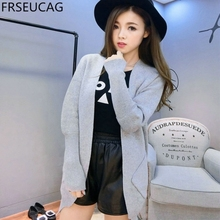 FRSEUCAG 2017 spring autumn loaded new oblique pocket cashmere cardigan women in the long section of pure color  wool jacket