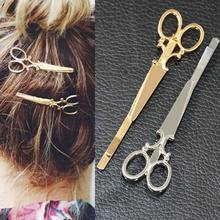 Hair Pin Gold color Scissors Shears Clip For Hair Tiara Barrettes Headdress Vintage Simple Head Jewelry Valentine's Day gift(China)