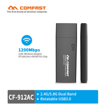1200Mbps ac wifi adapter 2.4G+5.8G Dual Band USB3.0 Wireless Network Card with WPS Button ac access point AP wi-fi router client(China)
