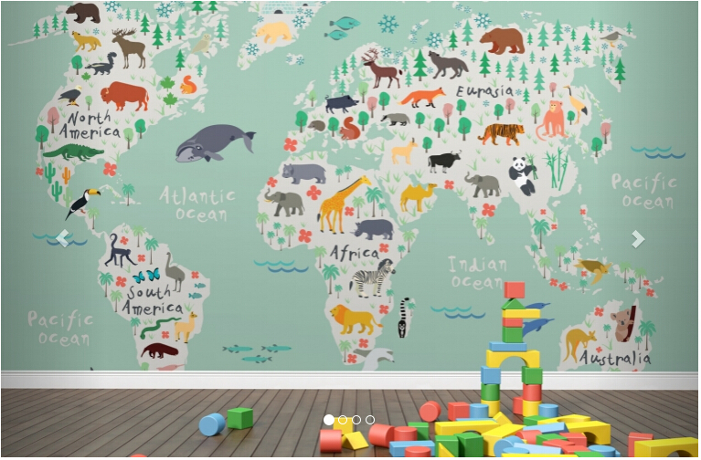 Custom papel de parede infantil, Safari Kids Map Mural which used for children room living room TV wall vinyl papel DE parede<br>
