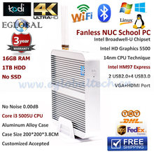 Eglobal 16GB RAM 1TB HDD 300M WIFI Gigabit Lan VGA HDMI Fanless Broadwell Linux Mini PC Intel Nuc Core i3 5005U HD5500 Pocket PC