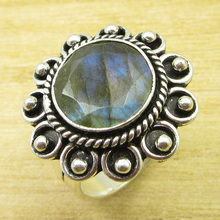 Rare Stone Ring Size US 9.5 !  Silver Plated Labradorite Jewelry ONLINE STORE