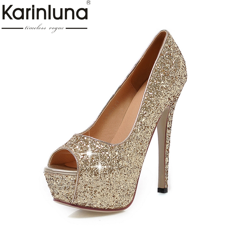 KarinLuna  2018 Big Size 32-43 Peep Toe Spring Summer Party Shoes Women Sexy High-Heeled Bling Upper Bride Pumps Shoes<br>