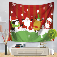 Cartoon Christmas Santa Claus Snowman Printed Tapestry Wall Hanging Tapestries Home Decor Bedspread Beach Towel Yoga Mat Blanket(China)