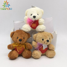 1pcs x 3.14inch(8cm) Plush Cotton velveteen Teddy Bears With LOVE HEART and scarf Small Doll House Craft Sitting Bear brinquedos