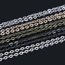 5M Bronze Gold/Silver/Rhodium/Gold/Gunmetal Tone Flat Link-Opened Chains 5x4mm ,Jewelry Findings