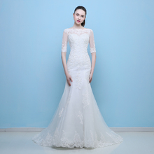 Buy MZMSRHS Sexy V Neck Wedding Dresses 2017 Backless Lace Beach Wedding Dress Long Sleeve Bride Gown Vestido De Noiva for $104.25 in AliExpress store