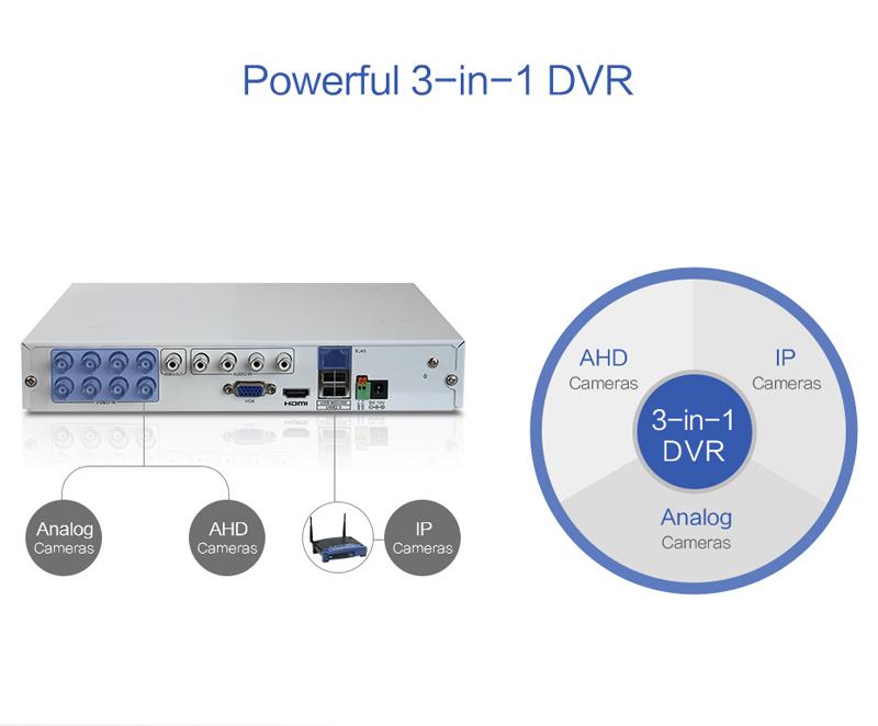 H.VIEW 8ch CCTV Surveillance Kit 4 Cameras Outdoor Surveillance Kit IR Security Camera Video Surveillance System DVR Kits (7)