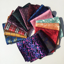 F127-143 Fashion Men's 100% Silk Handkerchief Floral Flower Pocket Square Plaids Checks Hanky Party Chest Towel Hankies Gift