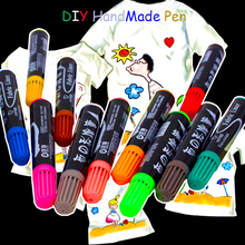 Simbalion Cloth pen DIY creative children graffiti color pen textile dyeing pen thick head Mark pen(China)