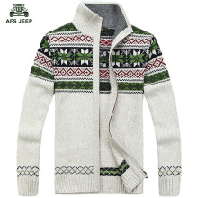 free shipping AFS JEEP mens Cardigans Sweaters Men Winter&spring Sweater Tops stand Collar Men slim Casual dress Knitwear 85