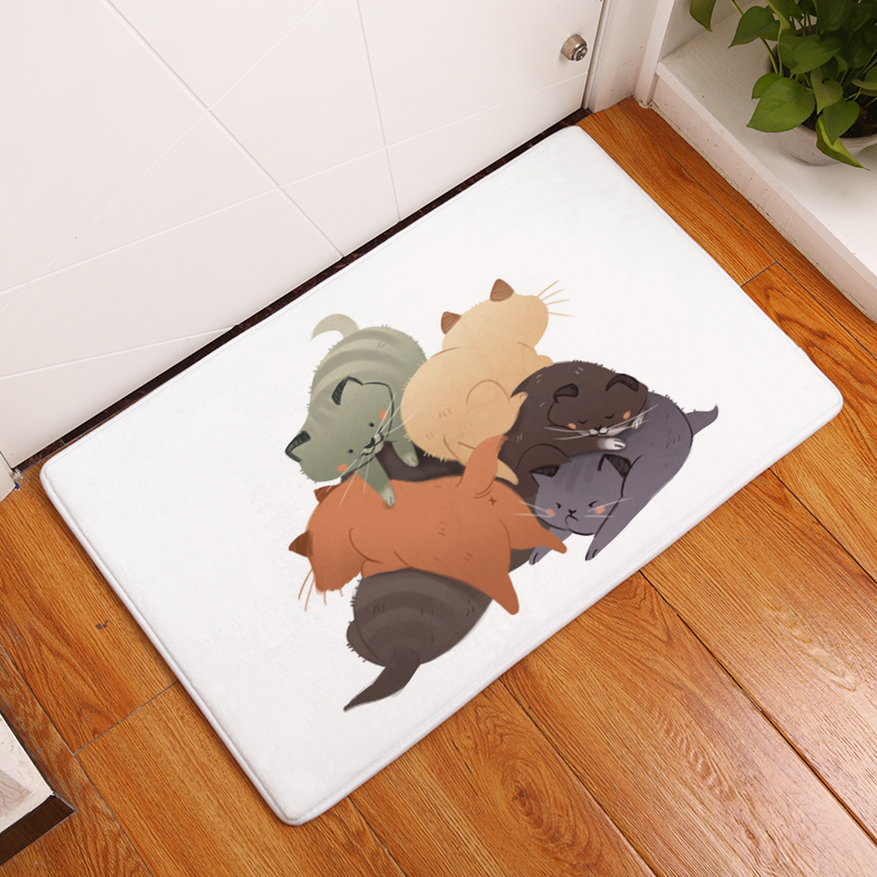 Cartoon Flannel Carpet Cats Printing Mat For Living Room 40x60cm