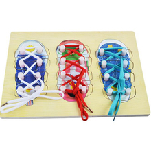 Montessori Educational Toy Wooden Threading Board Early Learning Toy Kids Hand Eye Coordination Skill Exercise Lace Up Shoes Toy