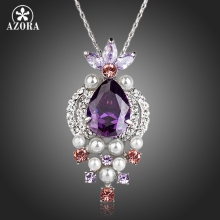 AZORA Lovely Fish With Purple Cubic Zirconia Imitation Pearl Pendant Necklace TN0132