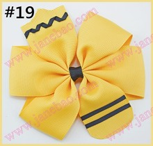 free shipping 50pcs 4.5'' School Hair Bow Go back to School Stacked Boutique Hair Bow Crayon hair bow pencil hair bows