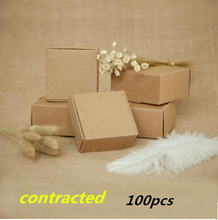 100pcs New US imports of kraft paper boxes Gift linerboard candy and other packaging cases(China)