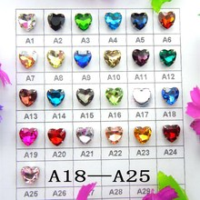 [A18-A25] Silver claw settings 7 sizes Sew on Various colors mix heart shape glass Crystal rhinestone beads garments diy