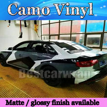 Large Pixel Camo Vinyl Black white grey Car Wrap Sticker Big Arctic Camouflage Film Car Sticker Air Free 1.52x30m/Roll 5x98ft(China)