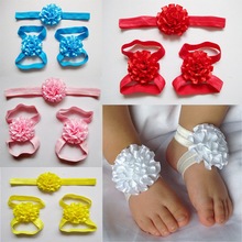infant headbands cute fabric boutique ribbon flowers baby girls barefoot sandals and headband sets children shoes 30set/lot(China)