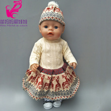 43cm Zapf dolls Baby Born doll winter Christmas reindeer dress hat sets also fit for 18 inch dolls clothes Baby Christmas gift(China)