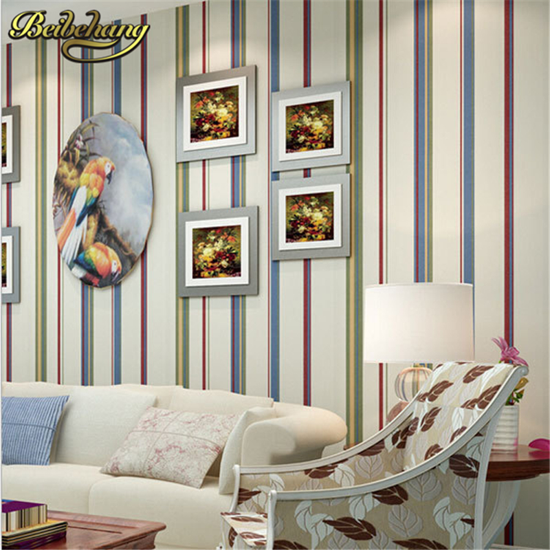 beibehang papel parede Mediterranean Colorful Vertical Stripes Wallpapers Wall Panel Decoration 3d Wall paper Papel de Parede 3d<br>