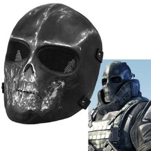 Free Shipping Hotsale High Quality Protect Mask Guard Army Paintball Skull BB Gun Game Full Face Black