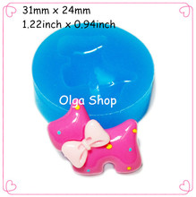 DYL088 Dog with Bow Silicone Bakery Mold 31mm - Cupcake Decoration Bakery Polymer Clay Mould, 3D Silicone Mould Fimo Mould