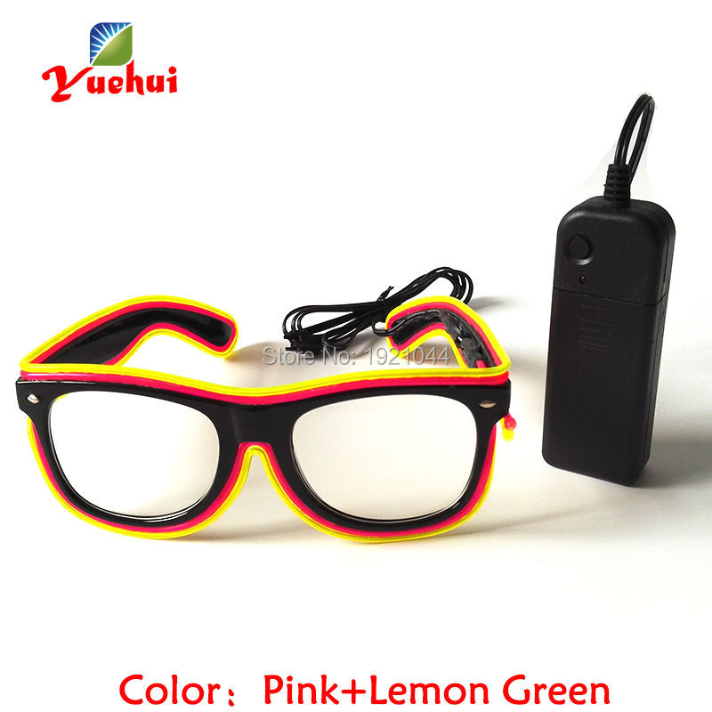 EL wire rope cable glowing Glasses Wholesale Product 5pieces Neon Cold Light Glasses with Steady on Driver for Glow Party Decor