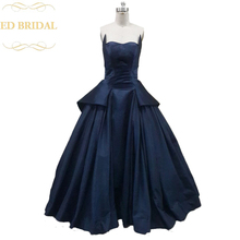 Rihanna Navy Blue Dress Ball Gown Spring 2015 Formal Evening Gown Taffeta Celebrity vestido de festa longo(China)