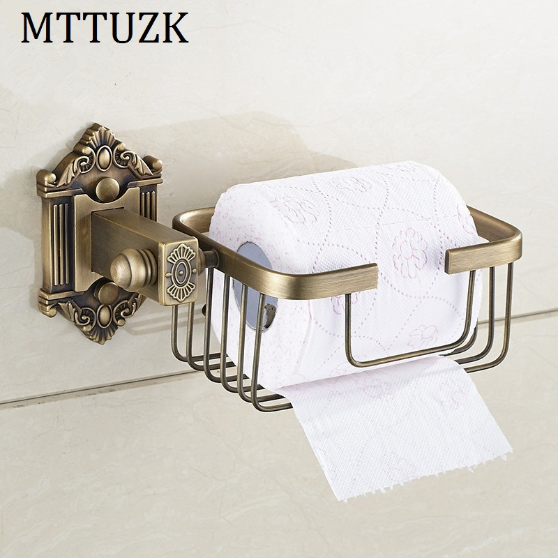 MTTUZK Antique Copper  Brushed Wall Mount Bathroom Basket Shelf Toilet Paper Holder Toilet Roll Holder Bathroom Accessories <br>