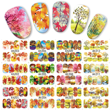 1 sheet Colorful Fall Season Tree Water Transfer Nail Art Sticker Beauty Red Maple Leaf Decal Nails Art Decorations JIA1201-1212(China)