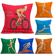 free shipping linen pillow cover 45cm*45cm Sports pattern Horse racing cycling baske sofa cushion cover decorative pillow case