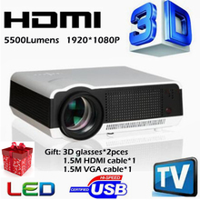 Big discount Full HD 5500Lumens 1280*800 Multimedia Home /cinema LED LCD projector 3D Proyector 200W lamp fast delievery(China)