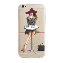 Cheapest Fashion Dress Shopping Girl Cases For Iphone 7 Case Transparent Clear Soft Silicon Cover For iphone 6s 6splus 7 7plus