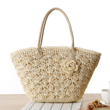 2017 Summer Beach Bag Straw Large Zipper Woven Straw Handbags Casual Big Shoulder Bag Women Flowers Fashion Ladies Tote Bag