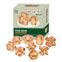 MINI Ancient kids educational learning wooden toys 3D IQ brainteaser adult burr puzzle lock and unlocking games(China)