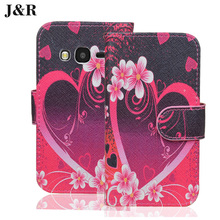 J&R for Alcatel One Touch 4034D Pixi 4 4.0 Case Painting Color Print Leather Book Flip Cover Wallet Phone Bag Card Holders Stand