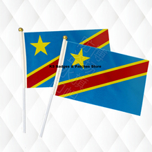 Star and Strip Congo Flags Hand Held Stick Cloth Flags Safety Ball Top Hand National Flags 14*21CM 10pcs a lot