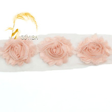 "1 Yard 2.5"" Peach Chiffon Frayed Shabby Rose Flowers Rosette Lace Trim Kids Headbands Hair Band Bridal Wedding Dress DIY Sewing"