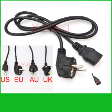 100pcs Universal 3 Prong Power Cord Cable 1.2M UK Plug / EU Plug / US Plug / AU Plug for Desktop Printers Monitors+Free shipping