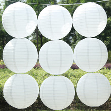 The new15-20-25-30-35cm white Round Chinese Paper Lantern Birthday Wedding Party decor gift craft festival decoration party DIY(China)